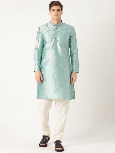 Sojanya (Since 1958), Men's Silk Blend Sea Green Solid Kurta & Off White Churidar Pyjama Set