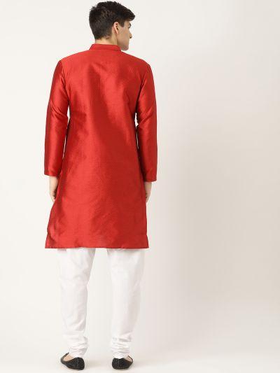 Sojanya (Since 1958), Men's Silk Blend Red Solid Kurta & Off White Churidar Pyjama Set