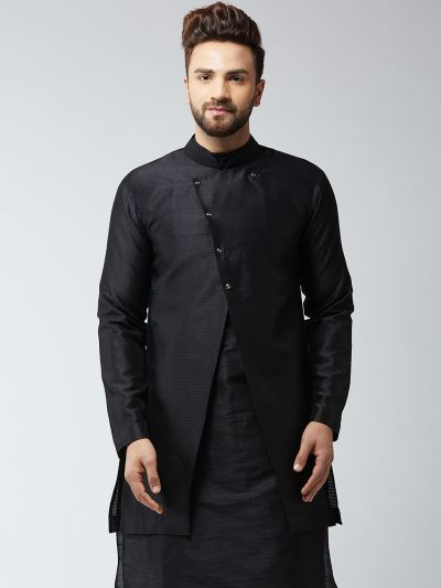 Sojanya (Since 1958), Men's Silk Blend Black ONLY Sherwani Jacket
