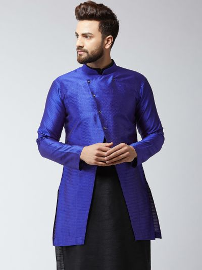 Sojanya (Since 1958), Men's Silk Blend Royal Blue ONLY Sherwani Jacket