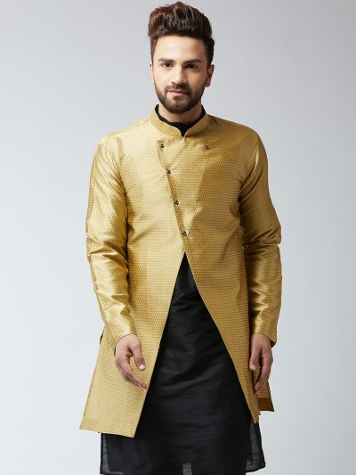 Sojanya (Since 1958), Men's Silk Blend Gold ONLY Sherwani Jacket