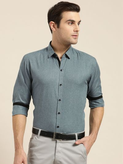 Sojanya (Since 1958), Men's Cotton Blend Teal Blue Formal Shirt