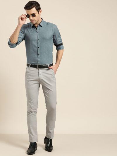 Sojanya (Since 1958), Men's Cotton Blend Teal Blue Formal Shirt
