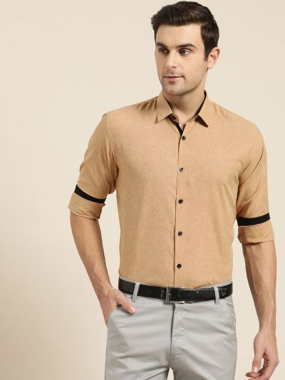 Sojanya (Since 1958), Men's Cotton Blend Metallic Gold Formal Shirt