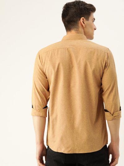 Sojanya (Since 1958), Men's Cotton Metallic Gold Casual Shirt