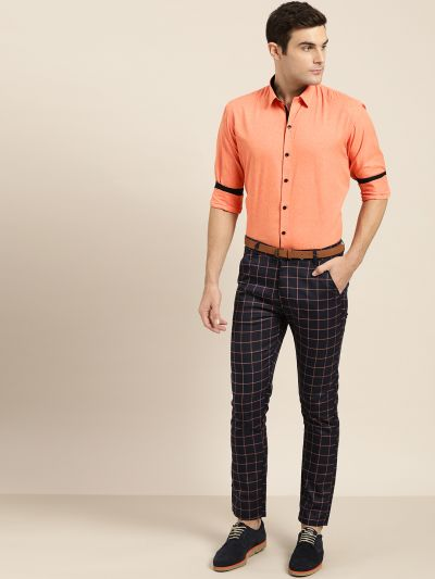 Sojanya (Since 1958), Men's Cotton Blend Orange Formal Shirt