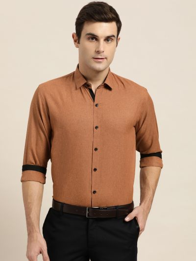 Sojanya (Since 1958), Men's Cotton Blend Rust Formal Shirt