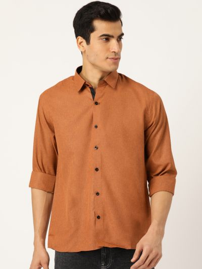 Sojanya (Since 1958), Men's Cotton Rust Casual Shirt