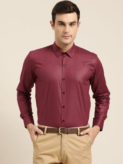 Sojanya (Since 1958), Mens Cotton Burgundy Printed Formal Shirt