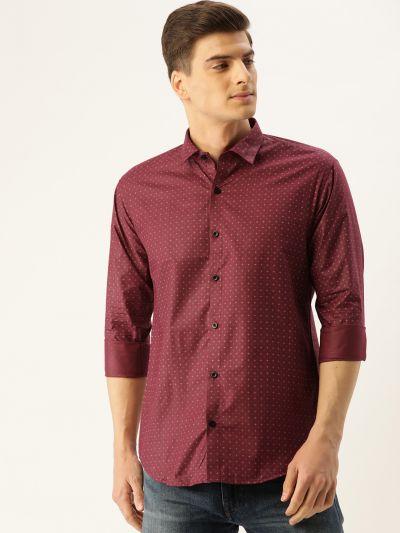 Sojanya (Since 1958), Mens Cotton Burgundy Printed Casual Shirt