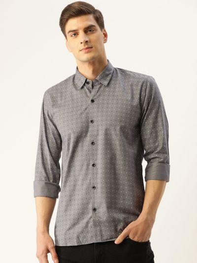 Sojanya (Since 1958), Mens Cotton Grey Printed Casual Shirt