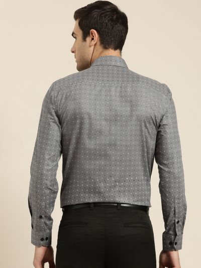 Sojanya (Since 1958), Mens Cotton Grey Printed Formal Shirt