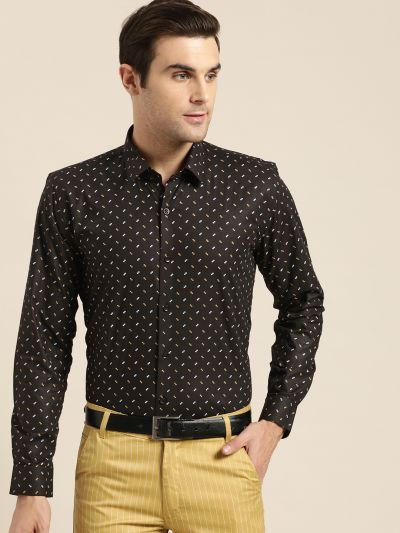 Sojanya (Since 1958), Mens Cotton Black Printed Formal Shirt