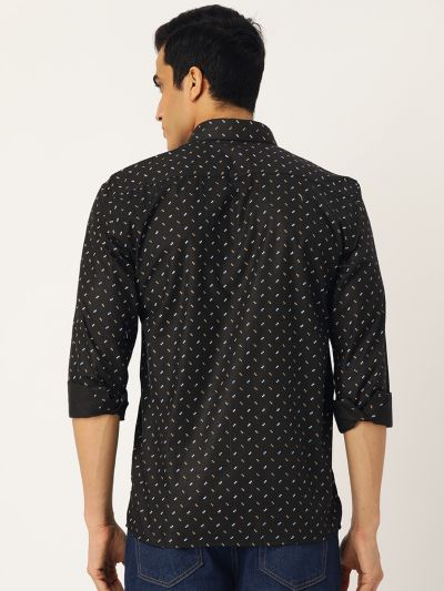 Sojanya (Since 1958), Mens Cotton Black Printed Casual Shirt