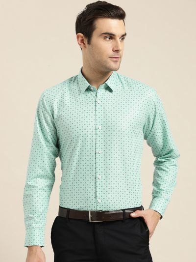 Sojanya (Since 1958), Mens Cotton Sea Green Printed Formal Shirt