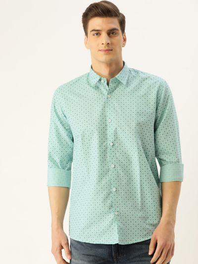 Sojanya (Since 1958), Mens Cotton Sea Green Printed Casual Shirt