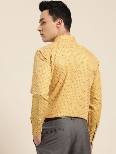 Sojanya (Since 1958), Mens Cotton Mustard Printed Formal Shirt