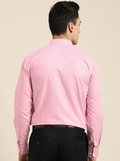 Sojanya (Since 1958), Mens Cotton Pink Printed Formal Shirt