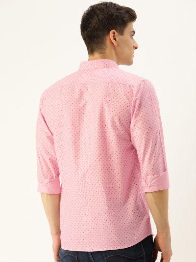 Sojanya (Since 1958), Mens Cotton Pink Printed Casual Shirt
