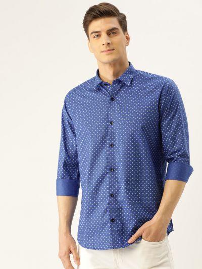 Sojanya (Since 1958), Mens Cotton Royal Blue Printed Casual Shirt