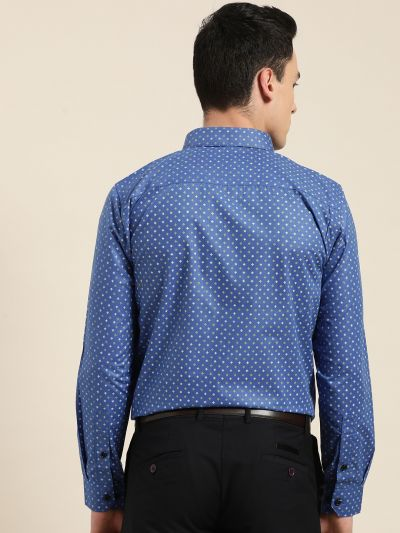Sojanya (Since 1958), Mens Cotton Royal Blue Printed Formal Shirt