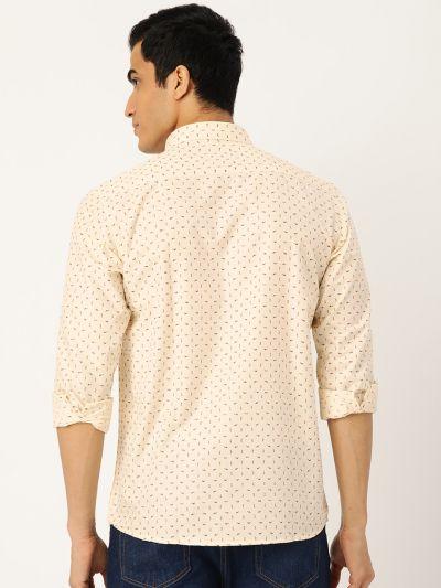 Sojanya (Since 1958), Mens Cotton Beige Printed Casual Shirt