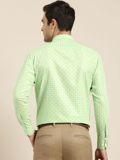 Sojanya (Since 1958), Mens Cotton Green Printed Formal Shirt
