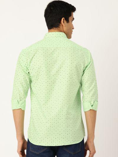 Sojanya (Since 1958), Mens Cotton Green Printed Casual Shirt