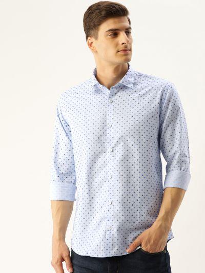 Sojanya (Since 1958), Mens Cotton Blue Printed Casual Shirt