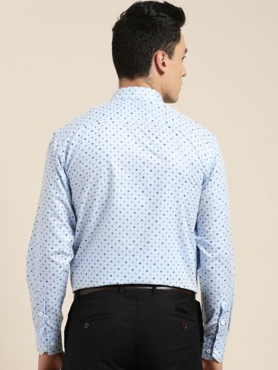 Sojanya (Since 1958), Mens Cotton Blue Printed Formal Shirt