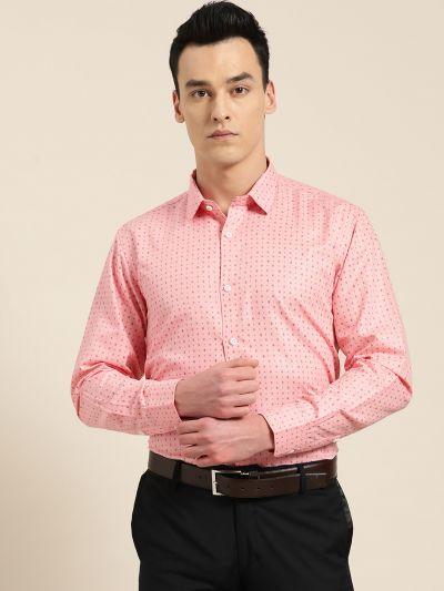 Sojanya (Since 1958), Mens Cotton Peach Printed Formal Shirt