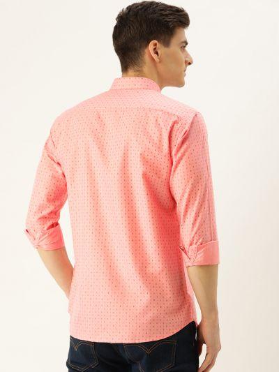 Sojanya (Since 1958), Mens Cotton Peach Printed Casual Shirt
