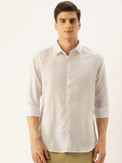 Sojanya (Since 1958), Mens Cotton Off White Printed Casual Shirt