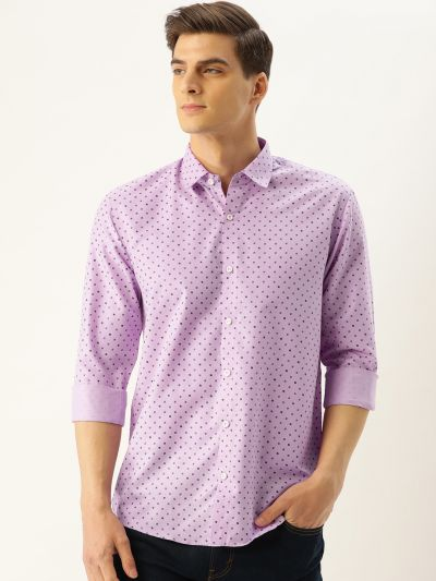 Sojanya (Since 1958), Mens Cotton Purple Printed Casual Shirt