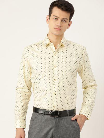 Sojanya (Since 1958), Mens Cotton LemonYellow & Multi Printed Formal Shirt