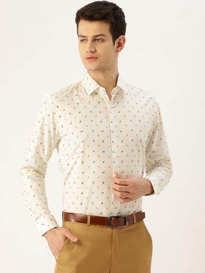 Sojanya (Since 1958), Mens Cotton Cream & Multi Printed Formal Shirt