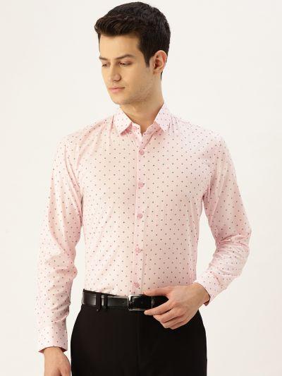 Sojanya (Since 1958), Mens Cotton Pink & Multi Printed Formal Shirt