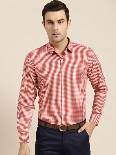 Sojanya (Since 1958), Men's Cotton Blend Red & White Checked Formal Shirt