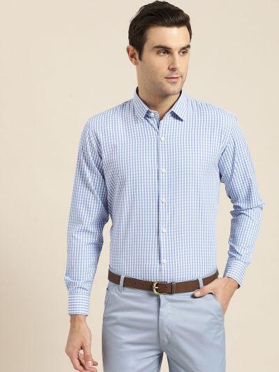 Sojanya (Since 1958), Men's Cotton Blend Blue & White Checked Formal Shirt