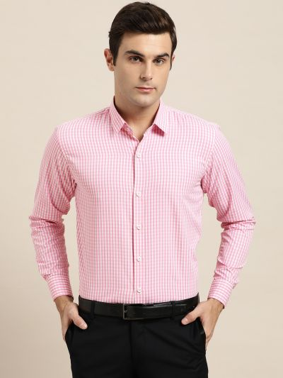 Sojanya (Since 1958), Men's Cotton Blend Pink & White Checked Formal Shirt