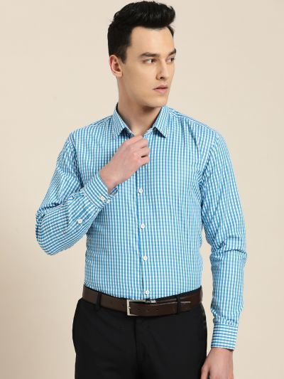 Sojanya (Since 1958), Men's Cotton Blend Teal Blue & White Checked Formal Shirt