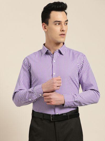 Sojanya (Since 1958), Men's Cotton Blend Purple & White Checked Formal Shirt