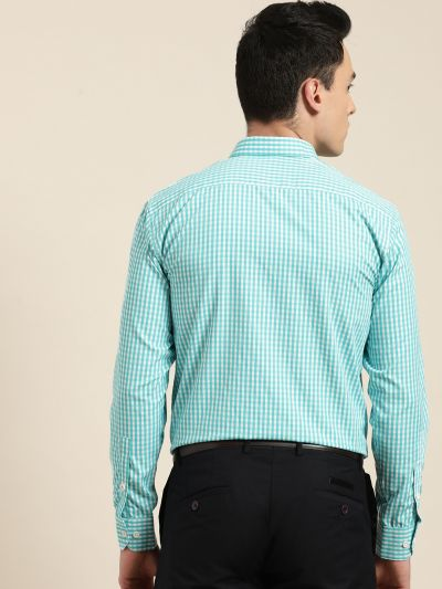 Sojanya (Since 1958), Men's Cotton Blend Sea Green & White Checked Formal Shirt