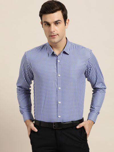 Sojanya (Since 1958), Men's Cotton Blend Royal Blue & White Checked Formal Shirt