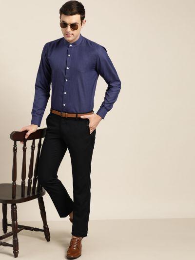 Sojanya (Since 1958), Mens Cotton Blend Navy Blue Chinese Collar Shirt