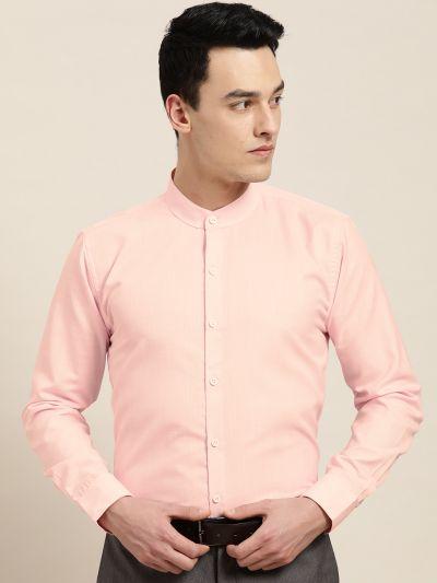 Sojanya (Since 1958), Mens Cotton Blend Pink Chinese Collar Shirt