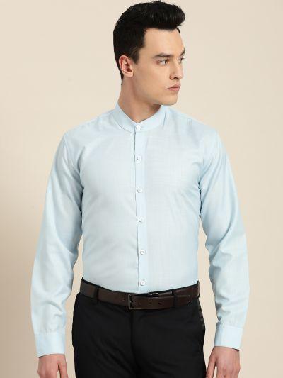 Sojanya (Since 1958), Mens Cotton Blend Sky Blue Chinese Collar Shirt