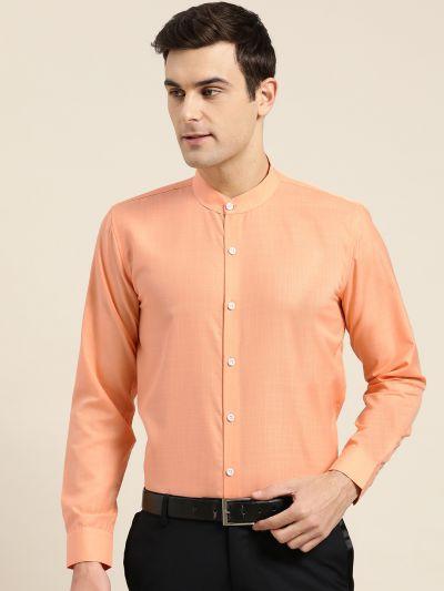 Sojanya (Since 1958), Mens Cotton Blend Orange Chinese Collar Shirt