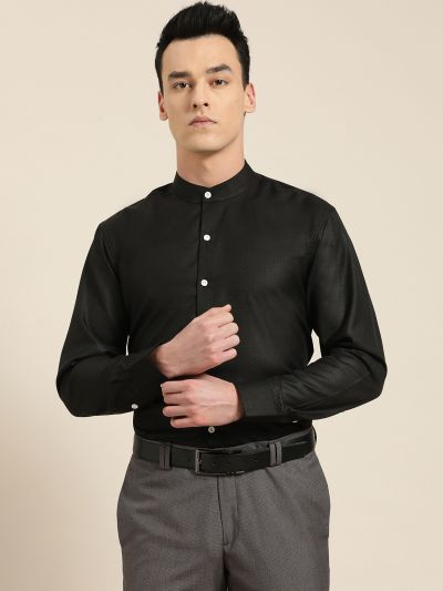 Sojanya (Since 1958), Mens Cotton Blend Black Chinese Collar Shirt