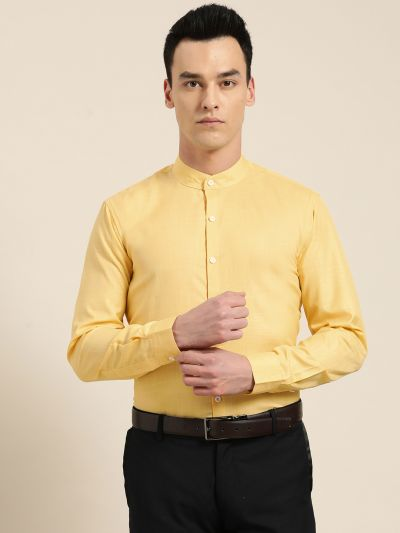 Sojanya (Since 1958), Mens Cotton Blend Lemon Yellow Chinese Collar Shirt